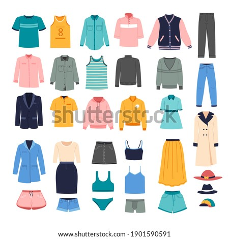 Stylish outfits for women, fashionable clothes assortment collection. Jumpers and coats, trousers and blouses, underwear and outerwear for cold and frosty seasons. Store or shop. Vector in flat style
