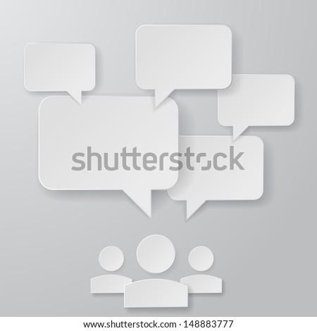 Stylish Paper Speech Bubbles Illustration