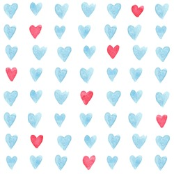 Stylish pattern with watercolor hearts. Vector illustration