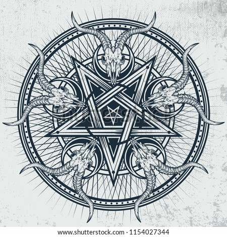 stylish pentagram with goat