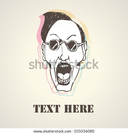 Stylish person face. Hand drawn sketch illustration isolated - stock vector