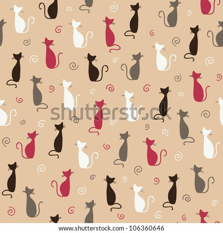 Stylish pink cats pattern. Vector illustration