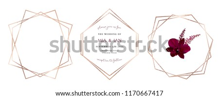 Stylish pink glitter gold geometric vector design frames. Set of golden geometry line art cards. Delicate art deco style. Diamond shaped wedding invitation. All elements are isolated and editable.