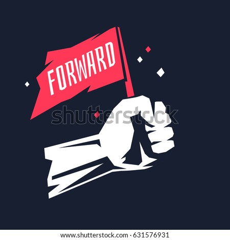 Stylish poster with a fist. The flag in the human hand on a dark background. Vector illustration.
