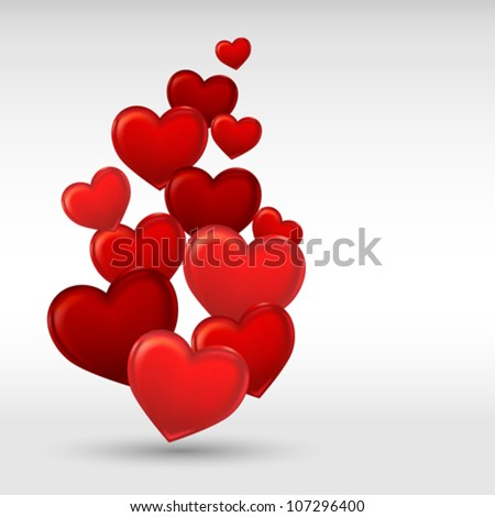 Stylish red valentine day heart background. Vector illustration.