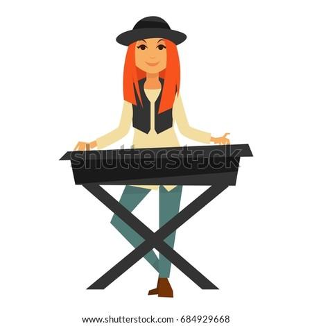 stylish redhead girl plays