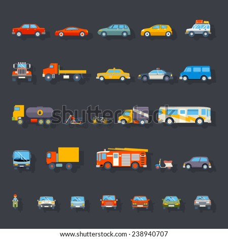 Stylish Retro Car Line Icons Set Isolated Transport Symbols Vector Illustration