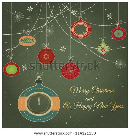 Stylish retro Christmas ornaments /Stylish retro Christmas ornaments with Merry Christmas and Happy New year greeting text and fancy clock