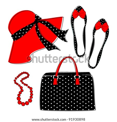 Stylish retro set of female fashion accessories isolated on white. Grouped and layered for easy editing. Raster version available in my portfolio