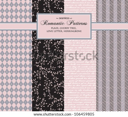 Stylish Romantic Vector Patterns - set of complementary seamless patterns, including argyle plaid, cherry tree, love letter and herringbone, in pink, black, gray and white - stock vector