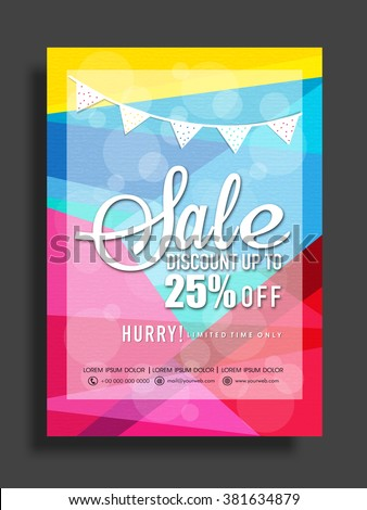 Stylish Sale Flyer, Banner or Pamphlet with 25% discount offer for limited time only.