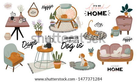 Stylish Scandic living room interior - sofa, armchair, coffee table, plants in pots, lamp, home decorations. Cozy Autumn season. Modern comfy apartment furnished in Hygge style. Vector illustration