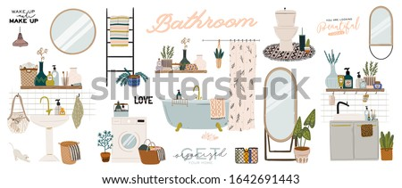 Stylish Scandinavian bathroom interior - bidet,tap, bath,toilet, sink,, home decorations. Cozy modern comfy apartment furnished in Hygge style. Vector illustration