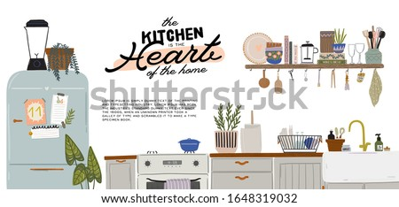 Stylish Scandinavian kitchen interior - stove, table, kitchen utensils, fridge, home decorations. Cozy modern comfy apartment furnished in Hygge style. Vector illustration