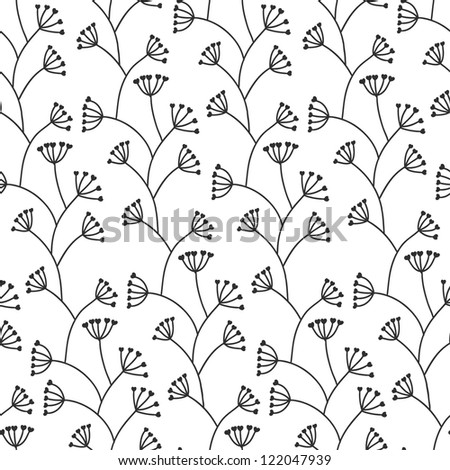 Stylish seamless floral pattern. Black and white. Vector illustration - stock vector