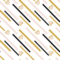 Stylish seamless pattern for baby products. Delicate pattern of goose, black and gold stripes with hearts. Modern abstract patterns. Collection of fabrics.