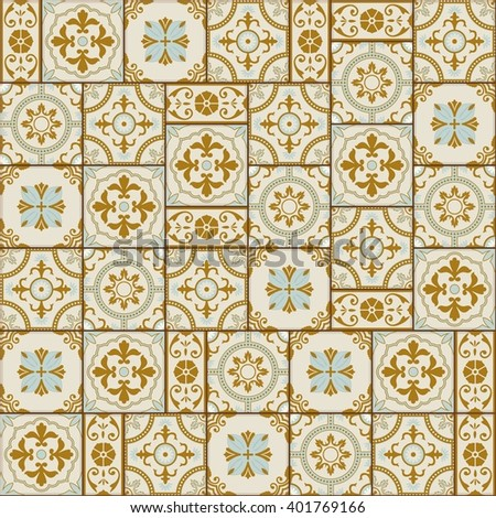 Stylish seamless pattern patchwork mix of Vintage from Moroccan  Portuguese  Azulejo tiles   retro. Stylish Seamless Pattern Patchwork Mix Of Vintage From Moroccan
