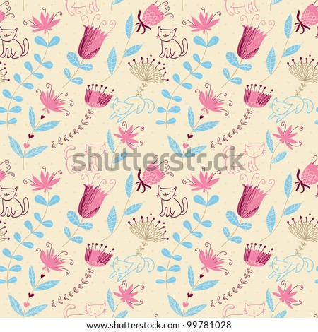 Stylish seamless pattern with cartoon cats in bright spring colors