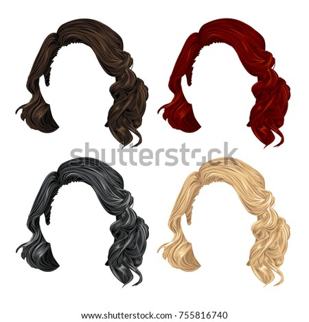 stylish set of vector wigs in