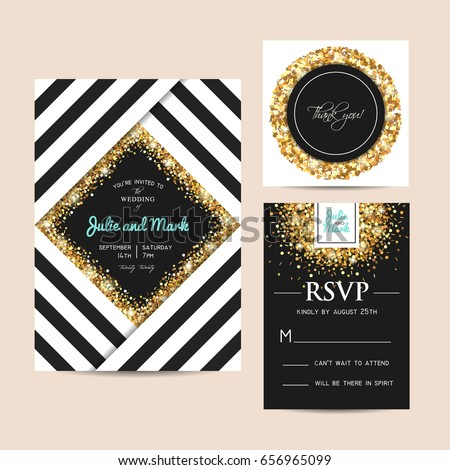 Stylish set of wedding invitation cards decorated with golden glitter. Golden sparks on a geometric template.