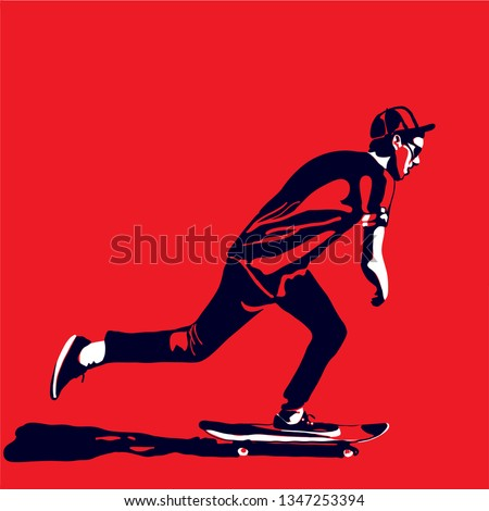 Stylish skater in jeans and sneakers. Skateboard. Vector illustration for a postcard or a poster, print for clothes. Street cultures. Stock photo ©