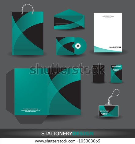Stylish stationery design set in vector format