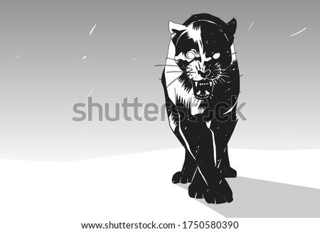 stylish stencil black panther