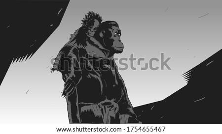 stylish stencil orangutan for