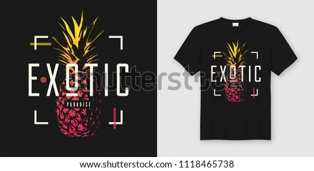 Stylish t-shirt and apparel modern design with pineapple, typography, print, vector illustration. Global swatches.