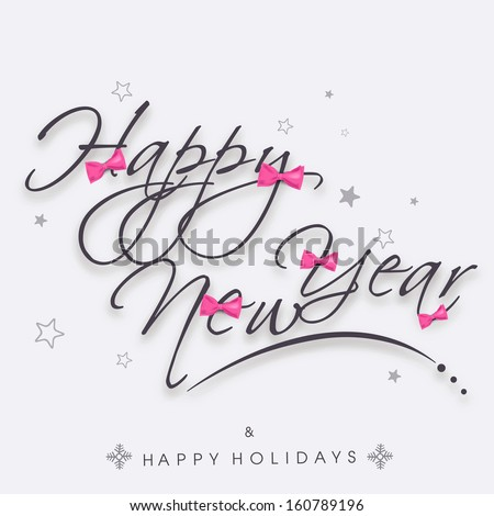 Stylish text Happy New Year on abstract background, can be use as flyer, banner or poster.
