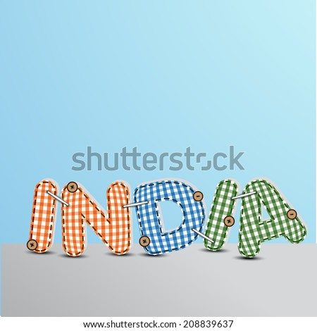 Stylish text India in saffron, blue and green color on blue and grey background for 15th of August, Indian Independence Day celebrations.