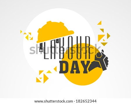 Stylish text Labour Day with wrench on colorful abstract background, can be use as flyer, banner or poster.