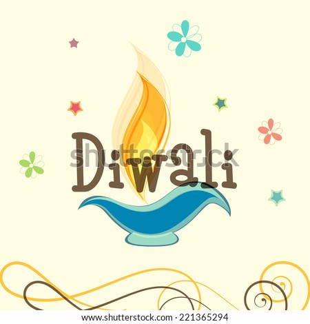 Stylish text of Diwali with illuminated oil lit lamp for Diwali celebration on floral decorated beige background