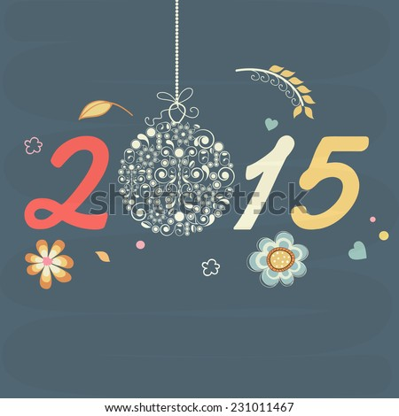 Stylish text 2015 with beautiful hanging X-mas ball on flower decorated blue background. #231011467