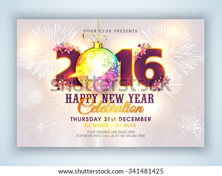Shutterstock Stylish text 2016 with colorful Xmas Ball on fireworks decorated background, Elegant Flyer or Banner design for Happy New Year celebration.