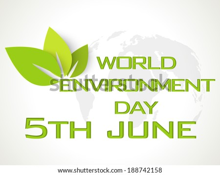 Stylish text World Environment Day in green color with green leaves on world map background.