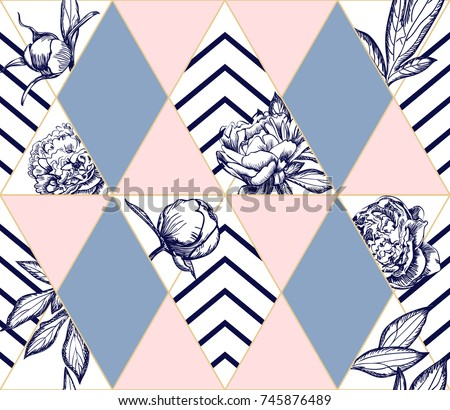 Stylish trendy geometric seamless pattern with flowers of peony. Ideal texture for fashion. Vector design element