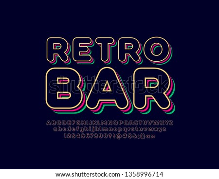 Stylish trendy logotype Retro Bar. 3D colorful Font. Vintage style bright Alphabet Letters, Numbers and Symbols