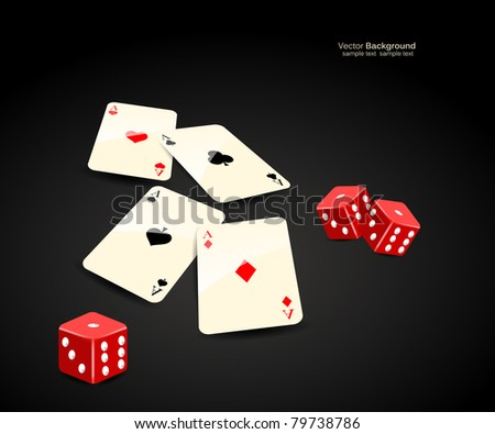 stylish vector casino cards and dice background