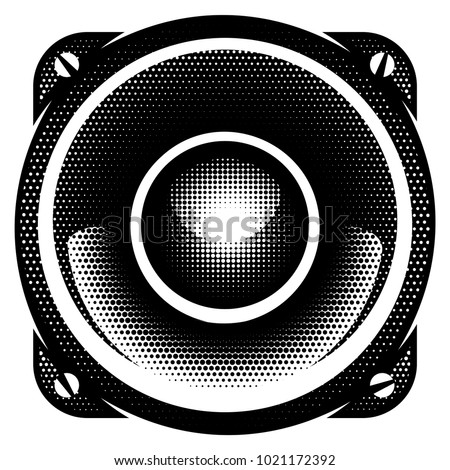 stylish vector monochrome detailed illustration with speaker.