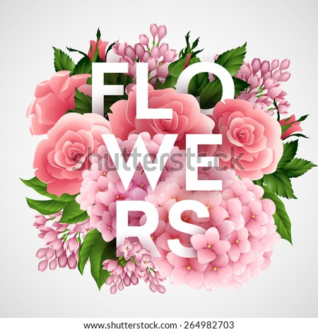 Stylish vector poster with beautiful flowers EPS 10