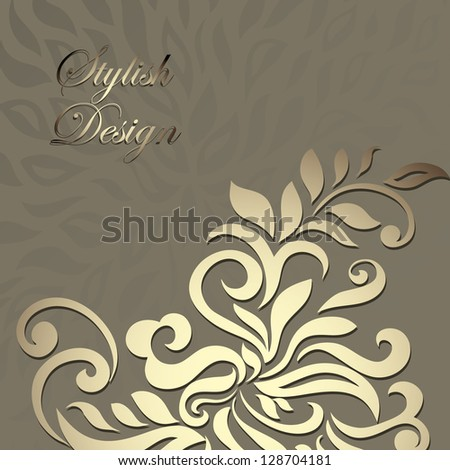 Stylish vintage floral card golden design