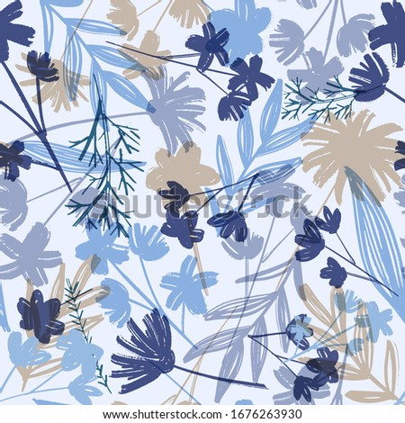 Stylish vintage floral seamless pattern. Monotone blue, grey and beige of silhouette tropical foliage. Fashion floral summer print for print, apparel, clothes design. Vector Foto stock ©