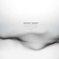 stylish wave mesh made with black dots particles