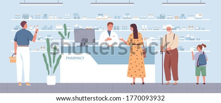 Stylish woman buying remedy consulting with pharmacist at drugstore vector flat illustration. Different people stand in queue at modern pharmacy interior. Male seller and customers at medical store