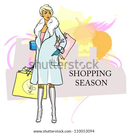 Stylish woman, girl with shopping bags, hand drawn illustration with space for text, shopping season