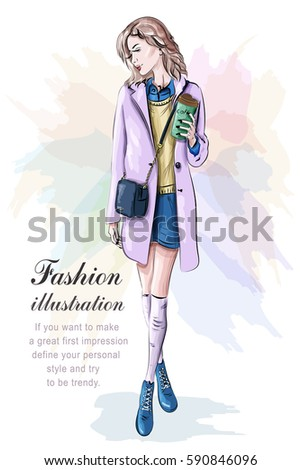 Stylish woman in fashion clothes with bag. Sketch. Vector illustration.