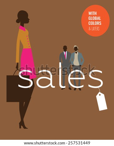 Stylish woman with sales word and price ticket. Vector illustration Eps10 file. Global colors & layers.