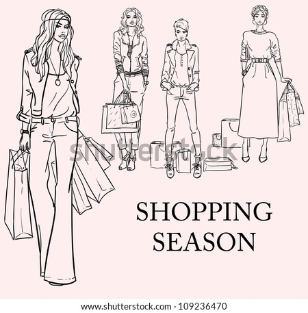 Stylish women, girls with shopping bags, hand drawn sketch, shopping season set