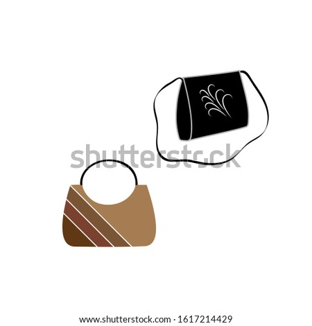 Stylish womens handbag. Fashionable feminine accessory. Trendy leather, glamour accessories of different types isolated on white background. Colorful vector illustration.